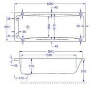 Carron Swallow Twin Grip Single Ended Bath 1700 x 700mm